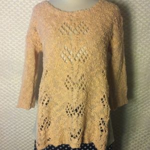 Anthropologie Chunky Knit Peach Sweater